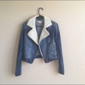 Mossimo Co Denim Sherpa Moto Jacket XS